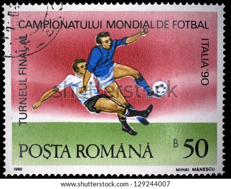 "ROMANIA - CIRCA 1990: A stamp printed in Romania, shows football players, with inscription and name of series ""World Cup Soccer Championships in Italy, 1990"", circa 1990"
