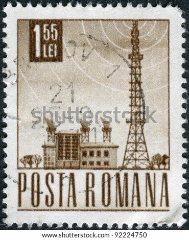 ROMANIA - CIRCA 1968: A stamp printed in the Romania, shows a Radio station and tower, circa 1968