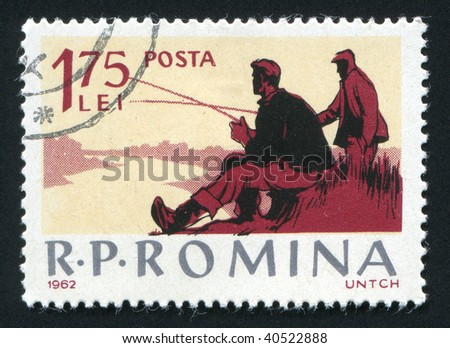ROMANIA - CIRCA 1962: Fishing on the river. Various Fishing Scenes, circa 1962.