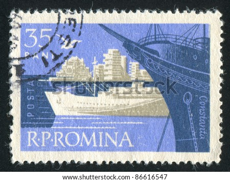 ROMANIA - CIRCA 1960: stamp printed by Romania, shows Constanta harbor, circa 1960