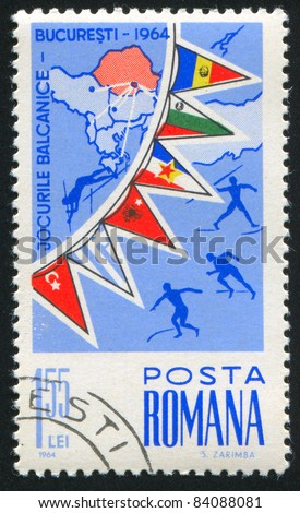 ROMANIA - CIRCA 1964: stamp printed by Romania, shows map and flags of Balkan countries, circa 1964
