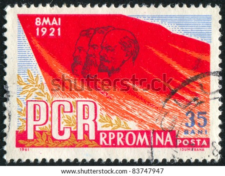 ROMANIA - CIRCA 1961: stamp printed by Romania, shows Marx, Lenin and Engels on Red Flag, circa 1961