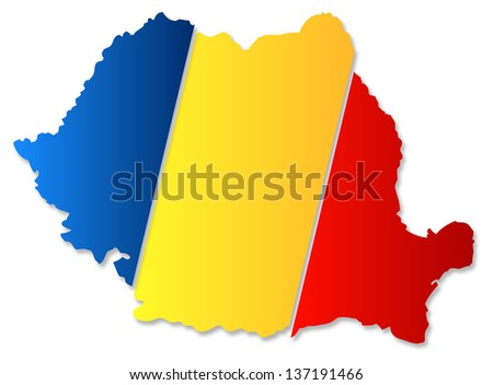 Romania Map With Flag - stock photo