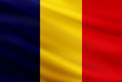 Romania national flag with fabric texture