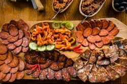 Romanian and Hungarian meat cold platter, traditional appetizer