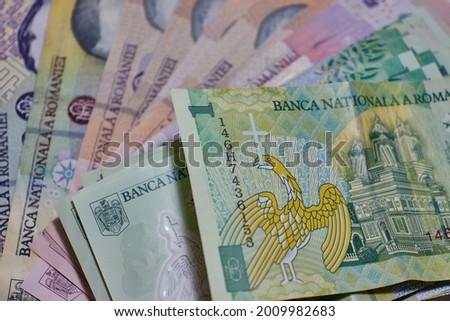 Romanian banknotes, close-up. RON Leu Money European Currency. Foto stock ©