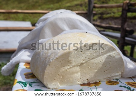 Romanian cheese made in traditional way in a Rodna mountains near Borsa town, Romania Stock fotó ©