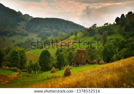 Romanian hovel with thatch and straw bundles near, in beautiful wild country. Romanian rurality with typical building with straw roof.