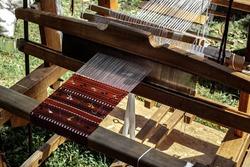 Romanian loom with homemade thread on it