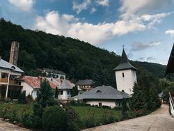 Romanian monastery. Mountain landscape in Northern Romania. Eastern European Landscape. Monasterio de Rumania