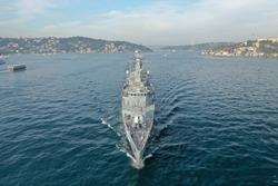 Romanian Navy frigate transits Istanbul Strait southbound in Turkey.