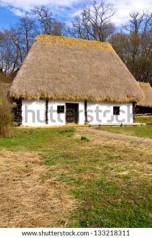 Romanian peasant house with hay roof