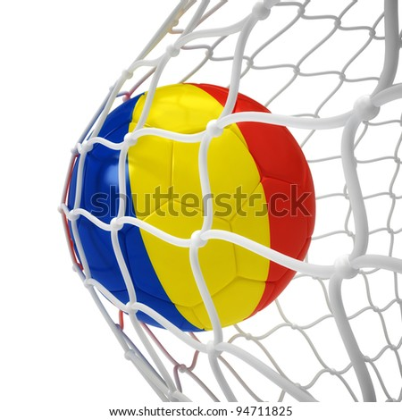 Romanian soccer ball inside the net isolated on white