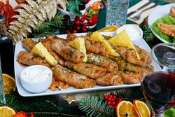 Romanian traditional Christmas food table