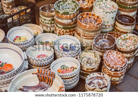 Romanian traditional empty plates at the market #1175878720