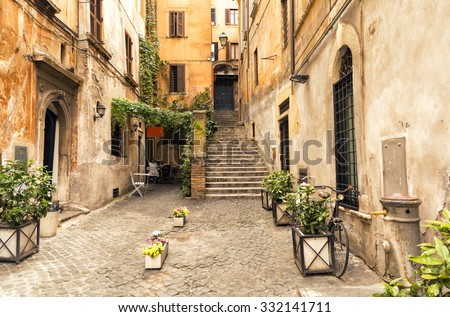 romantic alley in old part of...