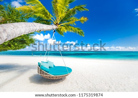 Romantic and idyllic couple and honeymoon concept design. Summer vacation and holiday background. Tropical beach, relaxing landscape, tranquil nature banner