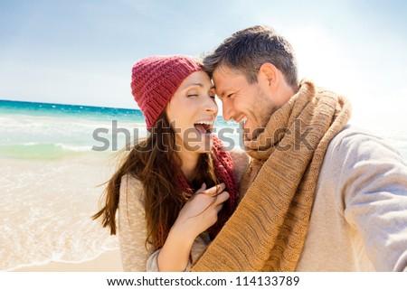 romantic autumn fall cost couple