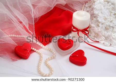 Romantic background with decorations  in white and red colors