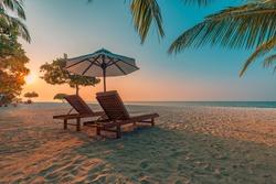Romantic beach scenery, summer vacation or honeymoon background. Travel adventure sunset landscape of tropical island beach.