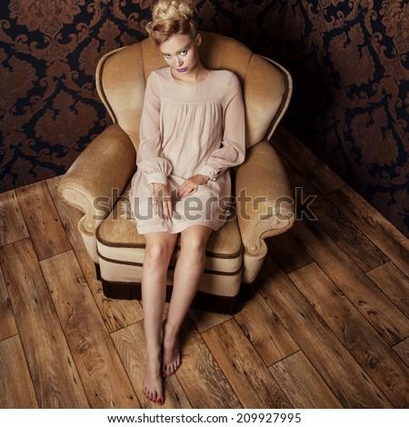 romantic beautiful blonde woman ...
