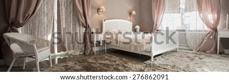 Romantic beauty bedroom interior with soft carpet, panorama