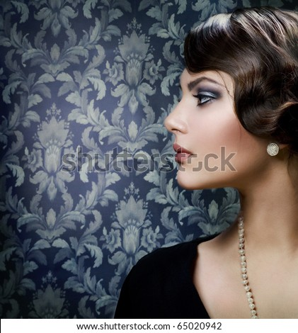 Romantic Beauty.Retro Style - stock photo