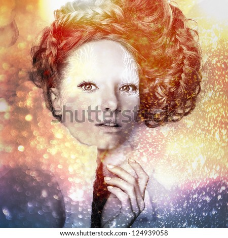 Romantic beauty with magnificent hair wandering in clouds. Digital painted multicolored pop art portrait.