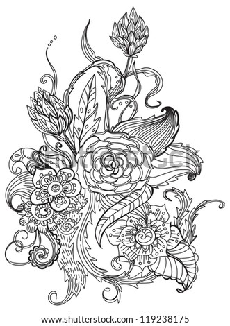 Romantic black and white hand drawn floral ornament for holiday design