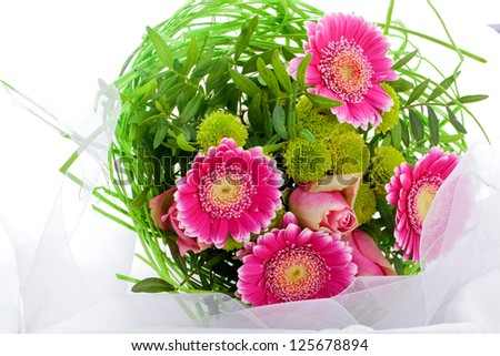 romantic bouquet of pink flowers for valentines day or mothers day