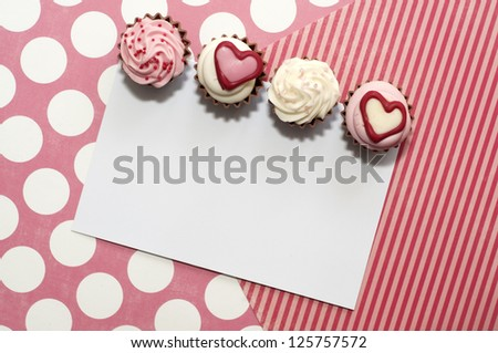 Romantic card design with cupcake bonbons and a note for your text