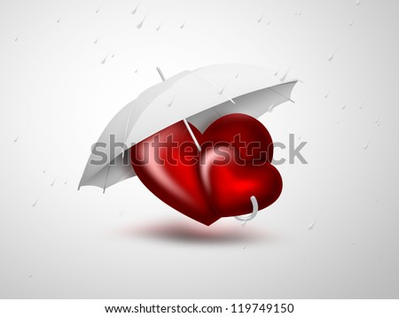 romantic card with two red heart under the umbrella