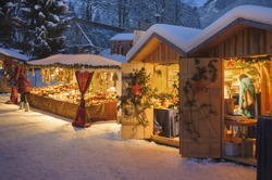romantic christmas market in Bavaria, germany, with shops for gift and decoration