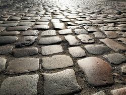 romantic Cobblestone pavement street background