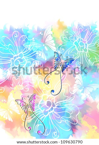 Romantic colorful floral background with butterfly, illustration with place for text