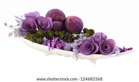 Romantic composition dried flower in ceramic plate on white background
