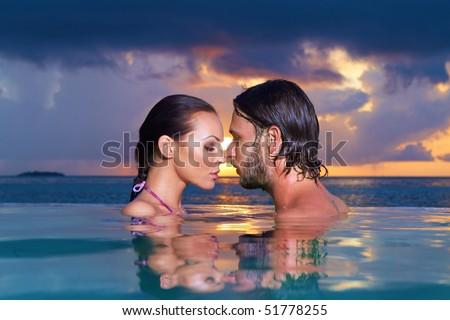 Romantic Couple Alone In Infinity Swimming Pool Stock Photo 51778255 Auto Design Tech