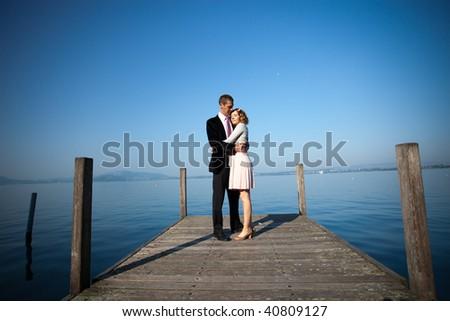 Romantic couple beside lake, full frame shot #40809127