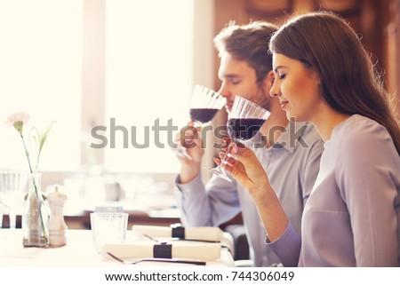 Romantic couple dating in restaurant #744306049