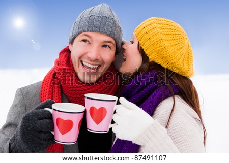 romantic couple enjoying tea