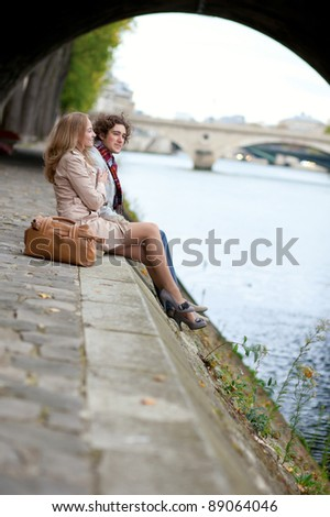 Romantic couple in Paris, having a date