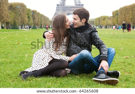 Romantic couple in Paris, near the Eiffel Tower