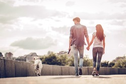 Romantic couple is on a walk in the city with their dog labrador. Beautiful young woman and handsome man are having fun outdoors with golden retriever labrador.