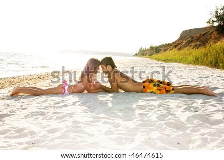 Romantic couple kissing on the seaside