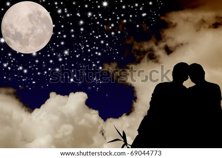 Romantic couple looking at the star heart