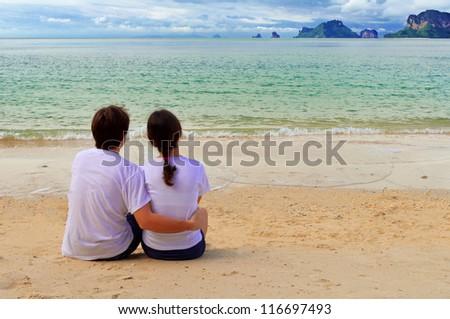 Romantic couple on beach vacation