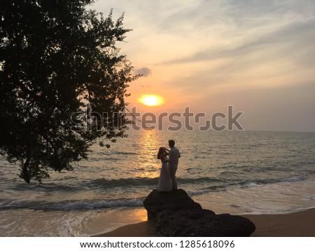 romantic couple with romantic scene