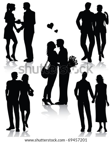 Romantic couples silhouettes (also available vector version)