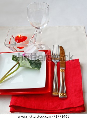 Romantic decoration of festive table