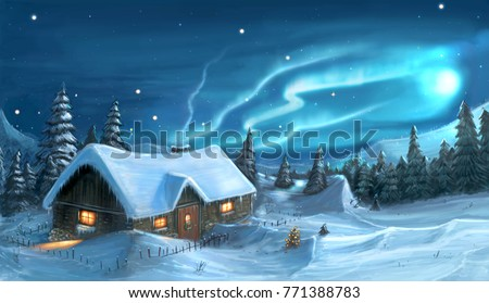 Romantic digital painting of snowy winter Christmas landscape. Mountain cottage in snow with trees around and northern lights or aurora on sky.